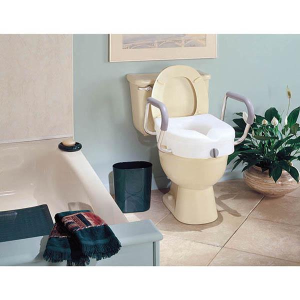 E Z Lock Raised Toilet Seat W Adjustable Armrests